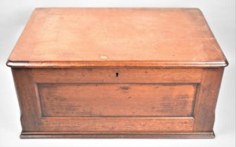 A Late 19th Century Mahogany Box with Hinged Lid and Panelled Sides, 53cm Wide