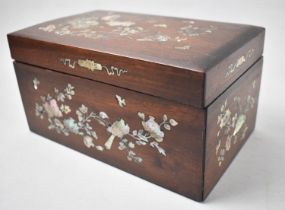A Pretty Mother of Pearl Inlaid Wooden Box Decorated with Flowers, Butterflies and Birds, 21cm Wide