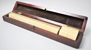 A Late 19th/Early 20th Century Mahogany Craftsmans Box Containing Ivory Scale Rules by Elliot,