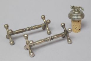 A Pair of Silver Plated Knife Rests and a Novelty Wine Saver Cork with Fox Finial
