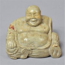 A Modern Carved Oriental Soapstone Study of Seated Buddha, 7cm Wide