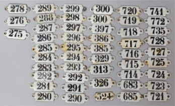 A Collection of Late 19th/Early 20th Century Miniature Numbers, Enamel on Metal, Each 3cm Long