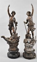 A Pair of Late 19th Century French Spelter Figures for Navy and Industry, Each 44cm High, Some