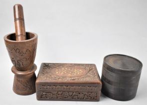 A Far Easter Carved Wooden Rectangular Box, Carved Wooden Pestle and Mortar and a Set of Circular