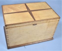 A Mid 20th Century Wooden Sewing Box with Geometric Inlay to Hinged Lid, Removable Tray Together