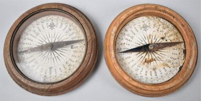 A Pair of Circular Wooden Framed Compasses with Printed White Cards, One Missing Glazed Top, 16cm