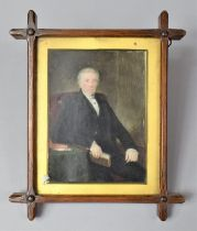 A Framed 19th Century Oil Miniature Portrait of Seated Pastor, with Reference to The Old Parish
