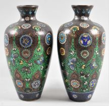 A Pair of Oriental Enamelled Vases, One with Damage to Body, 19cms High