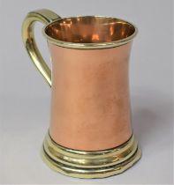 A Silver Plate and Copper Tankard, 11.5cm high