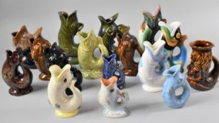 A Collection of Novelty Gluggle Jugs to include Royal Winton, Dartmouth, Pacetti, The Tallest