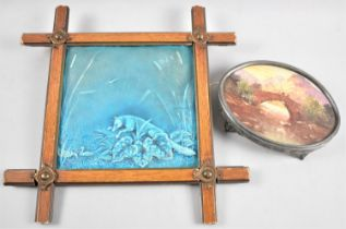 A Framed Blue Glazed Tile Depicting Fox Stalking Geese, 20cms Square, Together with a Hand Painted