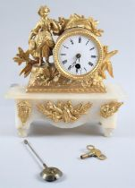A Late 19/Early 20th Century Gilt Metal and Alabaster Figural Mantel Clock with Drum Movement, Key