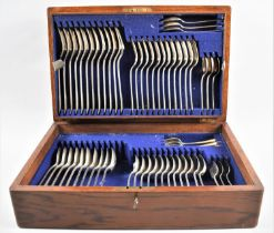 An Edwardian Oak Cased Canteen of Dixon Silver Plated Forks and Spoons Only, with Key, 42cms by
