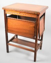 An Unusual Edwardian Walnut Card Table having Hinged Lid which Opens to Reveal Green Beize Lining,