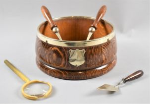 An Edwardian Silver Plate Mounted Oak Bowl with Matching Salad Servers, A Silver Plate Bladed