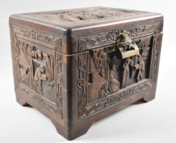 A Deeply Carved Chinese Camphor Wood Box, Brass Hasp with Padlock (Locked) 32x25x25cms High