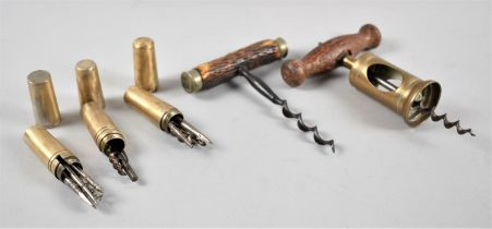 A Collection of Five Vintage Brass Mounted Corkscrews