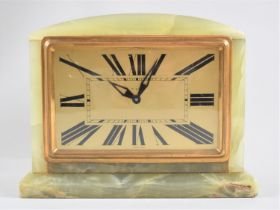 An Art Deco Onyx Mantel Clock with French Eight Day Movement by Bayard, Working Order, 19cms Wide