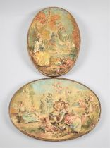 A Small Oval Oil on Canvas in the Manner of Jean-Honore Fragonard, Girl on Swing, Together with a