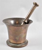 A Vintage Gun Bronze Metal Pestle and Mortar, 12.5cms Diameter and 12cms High