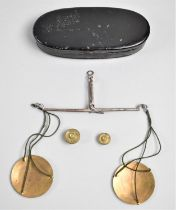 A Set of Vintage Small Georgian Pan Scales, in Oval Metal Container with Weights to Weigh Guineas
