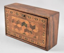 A Wooden rectangular Box with Hinged Tunbridge Ware Lid Decorated in Geometric Patterns, 14cms Long