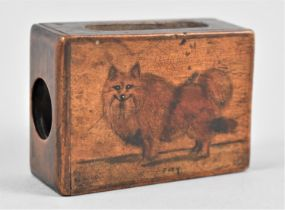 A Wooden Matchbox Holder Decorated with Dog Joey, 6.5cms Long