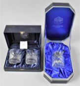A Stuart Crystal Boxed Set of Two Whisky Tumblers together with a Boxed Stuart Crystal Preserve