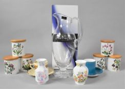 A Set of Six Portmeirion Botanic Garden Small Storage Jars, Aynsley Miniature Vases, Crown Ducal and