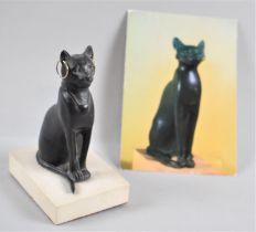 A Souvenir Study of Seated Cat with Earrings, the Original in Bronze with Gold, Late Period 6th