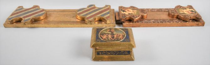Two Continental Gilt Decorated Wooden Book Slides, One with Hinged Fleur De Lys Ends, the other with