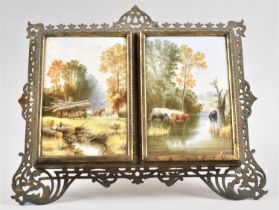 A Late 19th/Early 20th Century Continental Brass Pierced Easel Backed Picture Frame, Two Doors