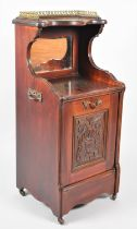 A Late Victorian Mahogany Pull Front Purdonium with Ormolu Galleried Top and Mirrored Back, Pull