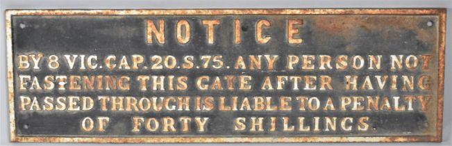 A Victorian Cast Iron Rectangular Notice, 77x24cm