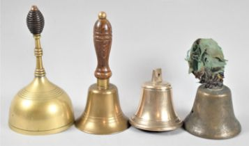 A Collection of Four Various Vintage Brass Bells, the Tallest 19cm