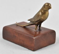 A Small Bronze Study of a Budgerigar Mounted on a Wooden Plinth, 6.5cm long