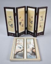 A Reproduction Oriental Four Fold Table Screen, The Painted Silk Panels Decorated with Maidens and
