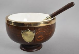 An Edwardian Silver Plated Mounted Oak Salad Bowl and Pair of Servers, Ceramic Liner to Bowl Has