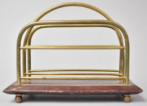 A Late Victorian/Edwardian Two Division Letter Rack on Mahogany Plinth Base, 21.5cm Wide, In Need of