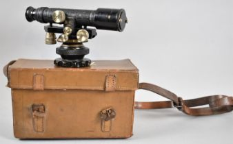 A Vintage Leather Cased Surveyors Level by Hall Bros no. 39399