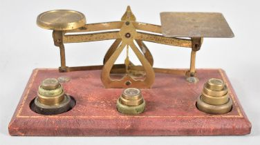 A Set of Edwardian Brass Postage Scales on Tooled Leather Plinth Base, Complete with Weights