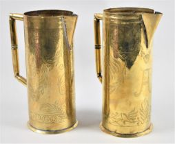 A Pair of Early 20th Century Brass Jugs with Engraved Decoration, One Monogrammed A, the Other CLC