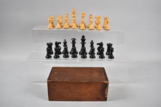An Edwardian Stained Box Containing Staunton Style Chess Pieces, The Kings 8.5cm high