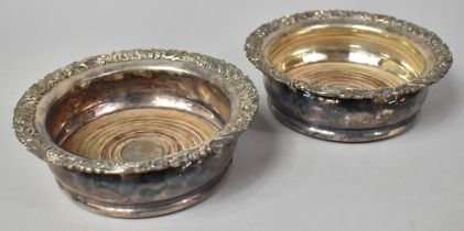 A Pair of Sheffield Plated Bottle Coasters, Each 15cms Diameter
