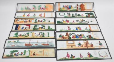 A Collection of Fourteen Hand Coloured French Magic Lantern Slides, Each 29.5cms Long