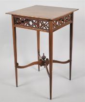 An Edwardian Mahogany Square Topped Occasional Table with Pierced Top Border, Tapering Square Legs