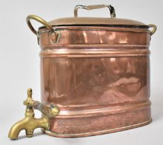 A Victorian Copper Oval Container with Two Brass Handles and Brass Tap to Base, 30cms Wide and 24.