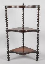 A Serpentine Front Mahogany Whatnot with Barley Twist Supports, 98cm High and 54cm wide