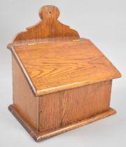 A Reproduction Oak Wall Hanging Salt Box, 25.5cm Wide