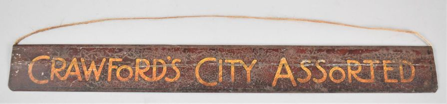 A Vintage Tin Plate Shop Shelf Label for 'Crawford's City Assorted', 48.5cm wide